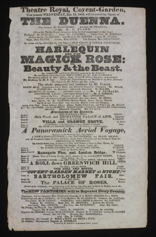 Pantomime playbill, 1826, for Harlequin and the Magick Rose: or, Beauty and the Beast, Theatre-Royal, Covent Garden.