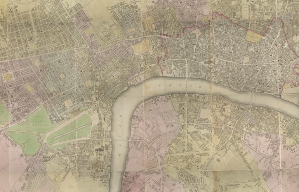 Section from Horwood's Plan showing Westminster and the City of London