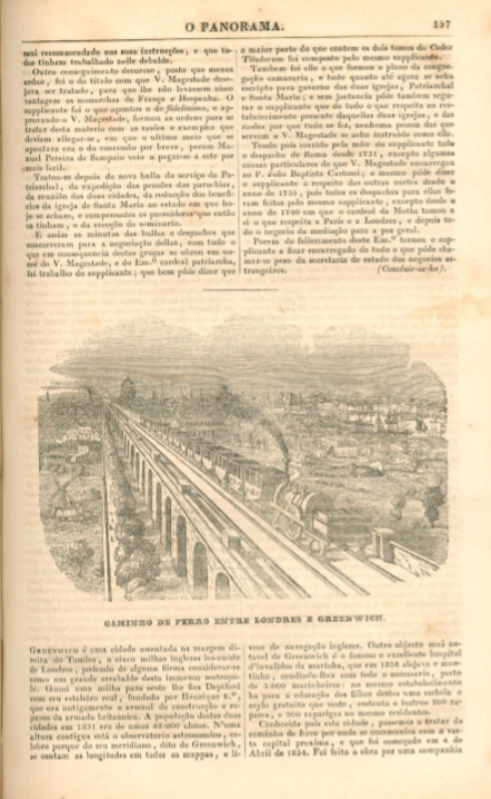 Illustration from Portuguese periodical O Panorama showing the railroad between London and Greenwich,1840
