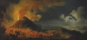 Painting showing the eruption of the Vesuvius volcano