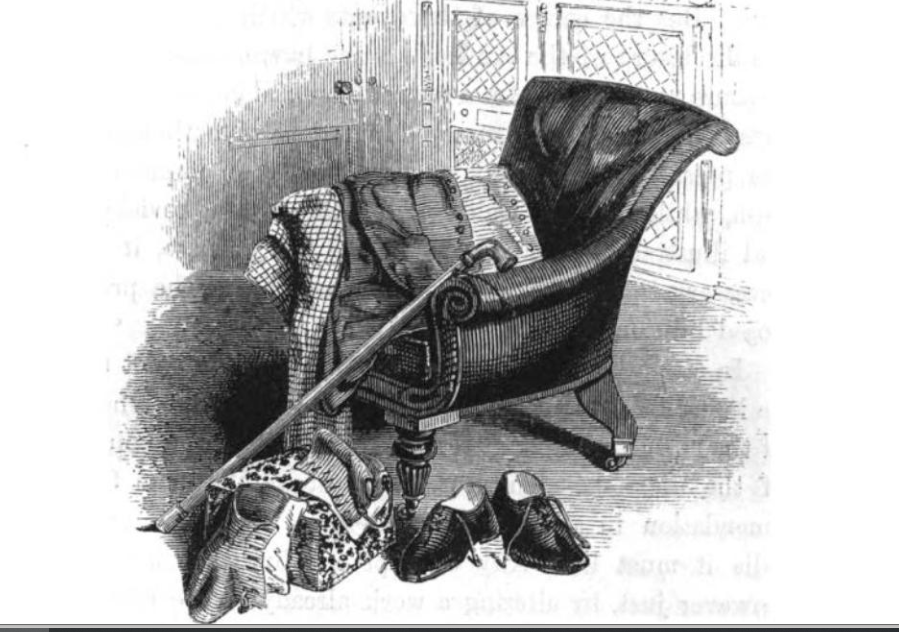 Black and white engraving of Scott's chair, with shoes in the foreground and a cane leaning against the chair