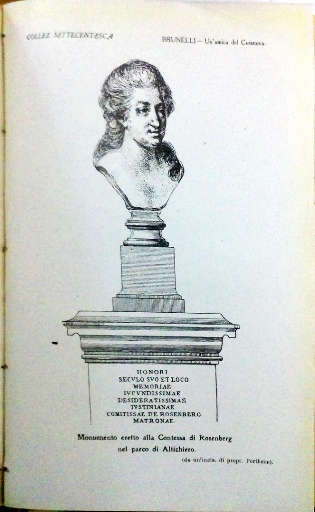 Engraving of the Wynne Memorial showing a bust of Giustiniana Wynne mounted on a plinth.
