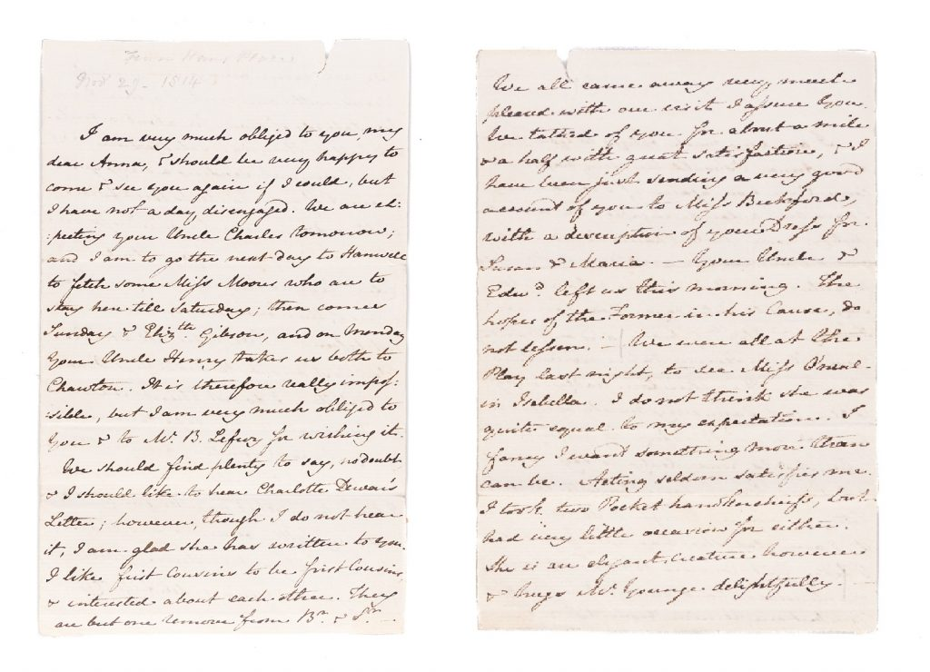 Image of a two-page manuscript letter