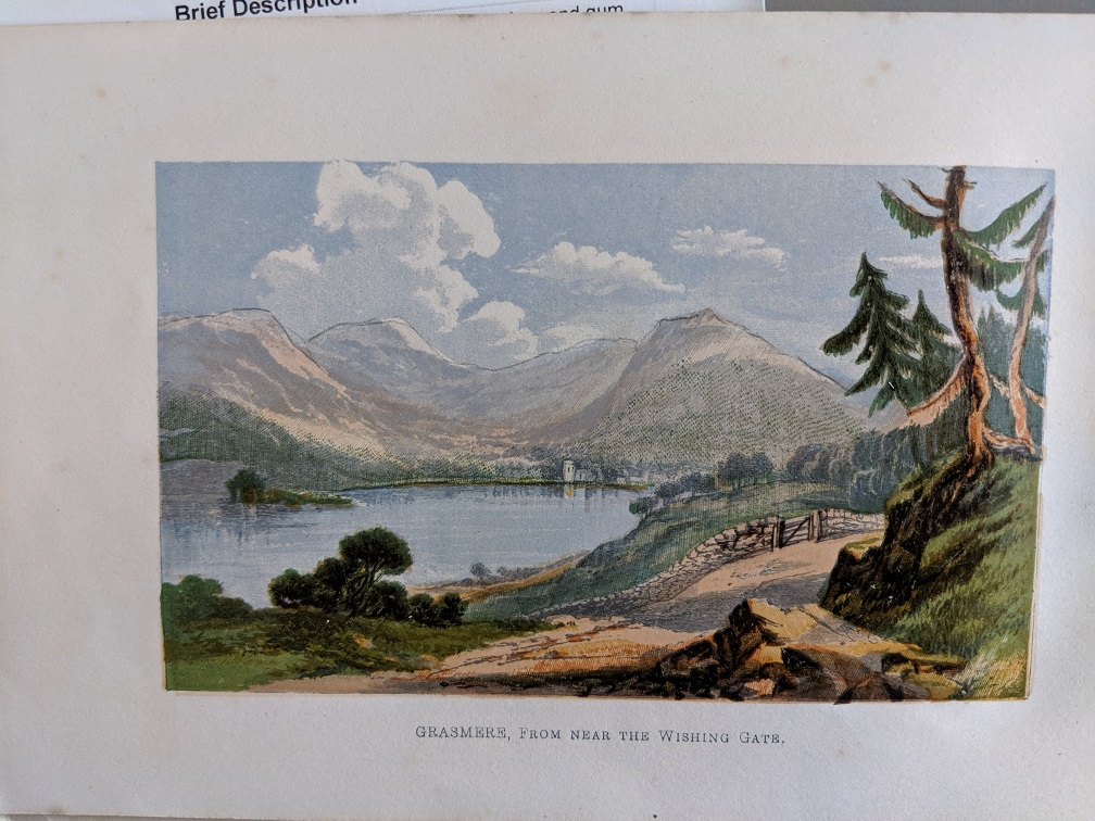 Colour illustration of a lake and hills at Grasmere, including the wishing-gate