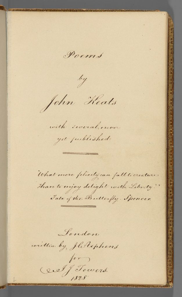 "Image of the handwritten title page of a book, reading ""Poems by John Keats"""