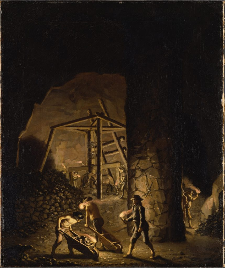 Painting of miners in Falun Mine