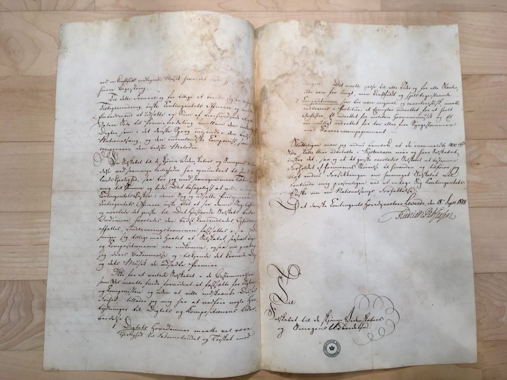 Image of a manuscript letter that instigated the nation-wide competition that inspired Adam Oehlenschläger to write the unofficial Danish national anthem