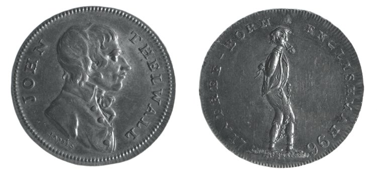 Image of a metal coin with the bust of John Thelwall in profile on one side and a figure in chains and a padlock on the other