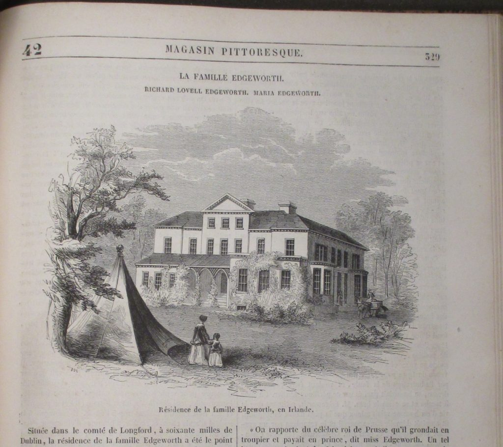 Black and white ink illustration of Edgeworthstown House
