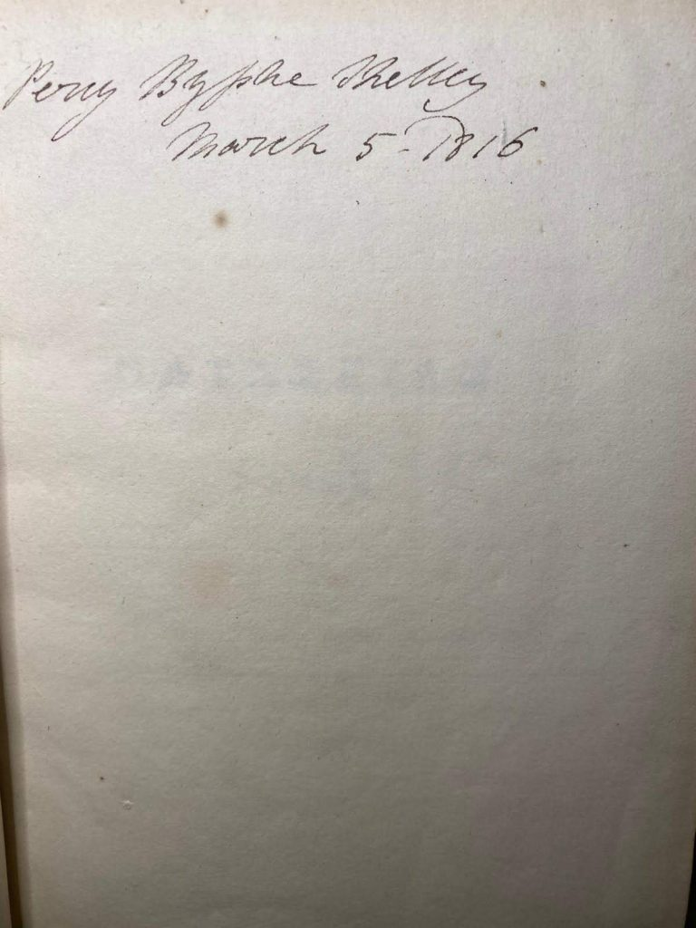 autograph inscription to Shelley's copy of Homer
