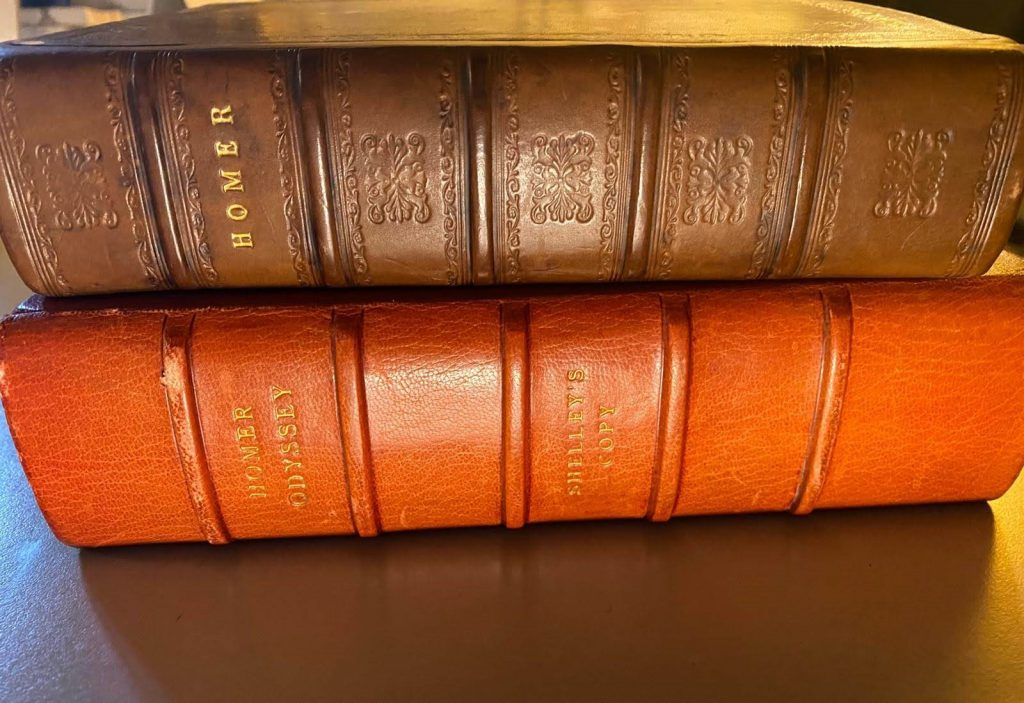 image of two copies of Homer, bound in red, on their sides