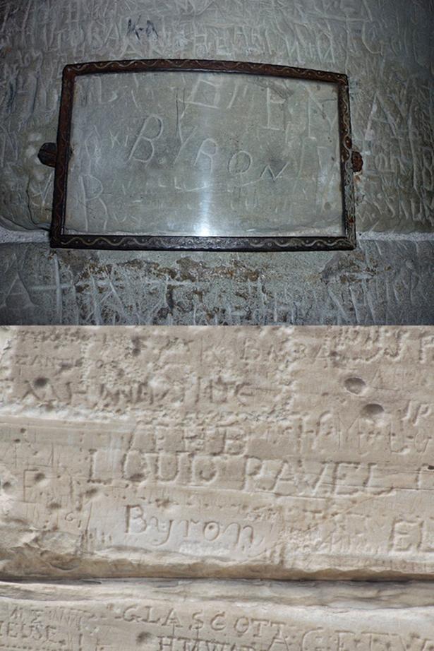 Autograf Byrona w Zamku Chillon