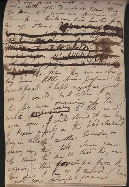 Dwie strony dziennika z Grasmere Dorothy Wordsworth