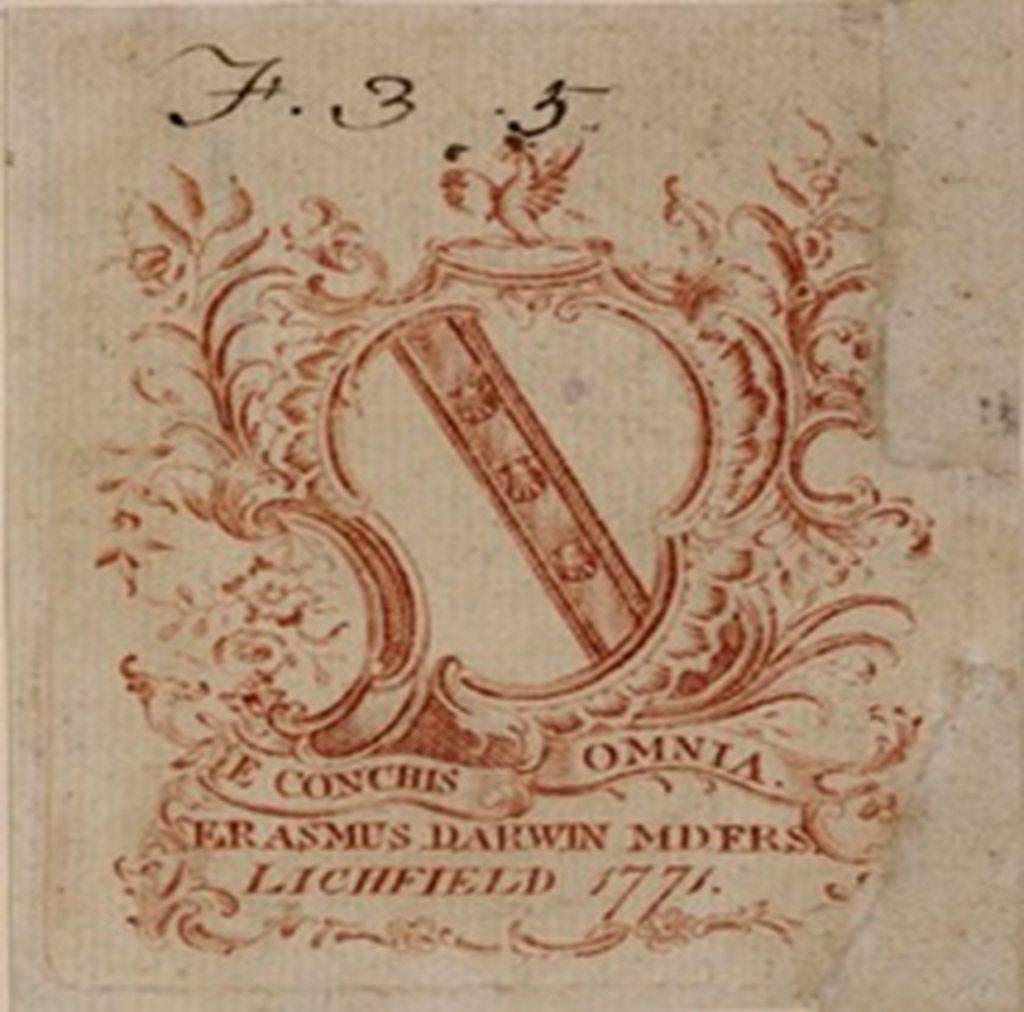 Erasmus Darwin's Armorial Bookplate