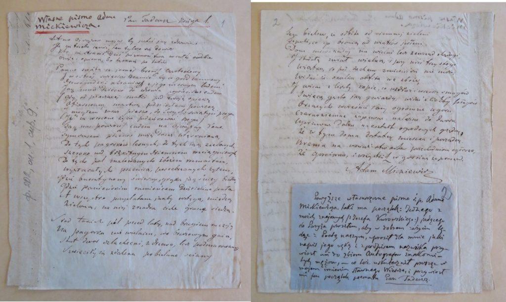 Manoscritto di 40 versi del <Pan Tadeusz> di Mickiewicz