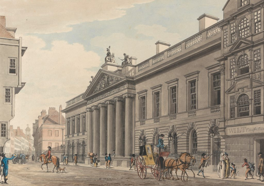Watercolour Image of The Offices of the Minerva Press, Leadenhall Street