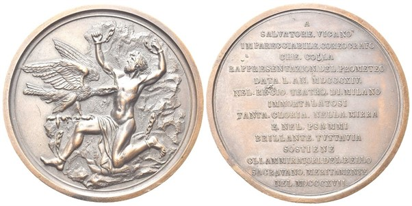 A medal commemorating the performance of Viganò's ballet Prometeo in 1814
