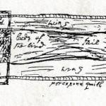 Erasmus Darwin's Artificial Bird. Pen sketch of a mechanical bird.