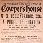 A poster advertising the opening of William Cowper's house in Olney as a museum, 1900