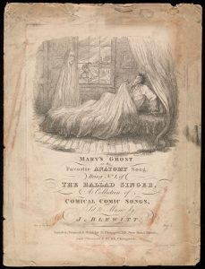 """Songsheet of """"Mary's Ghost; or the Favourite Anatomy Song"""" by Thomas Hood"""
